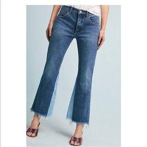 Pilcro High Waist Raw Hem Flare Cropped Jeans